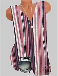 Недорогие -Жен. Полоски Безрукавка V-образный вырез Повседневные Лето Синий Розовый Зеленый S M L XL 2XL 3XL 4XL 5XL