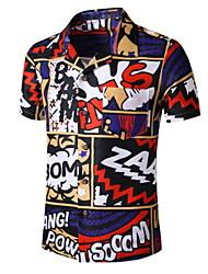 cheap -Men's Geometric Graphic Print Shirt Tropical Daily Button Down Collar Black / Short Sleeve