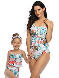 cheap -2 Piece Mommy and Me Active Sweet Blue & White Floral Color Block Graphic Backless Ruffle Print Sleeveless Short Above Knee Swimwear Blue