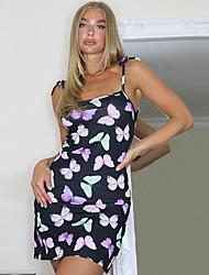 preiswerte -Damen Trägerkleid Minikleid - Ärmellos Tier Sommer Street Schick 2020 Schwarz S M L