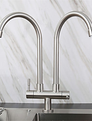 cheap -Stainless Steel Faucet Single Cooling Double Pipe Double Handle Kitchen Sink Double Outlet Faucet