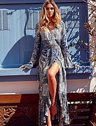 cheap -Women's Sheath Dress Maxi long Dress - Long Sleeve Floral Summer Boho 2020 Blue Purple S M L XL