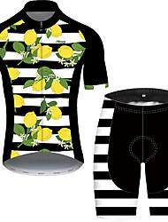Недорогие -21Grams Муж. С короткими рукавами Велокофты и велошорты Черный / Белый Фрукты Велоспорт Устойчивость к УФ Быстровысыхающий Виды спорта С узором Горные велосипеды Шоссейные велосипеды Одежда