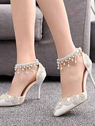 cheap -Women's Wedding Shoes Spring & Summer / Fall & Winter Stiletto Heel Pointed Toe Vintage Sweet Wedding Party & Evening Sparkling Glitter / Buckle / Tassel Solid Colored PU White