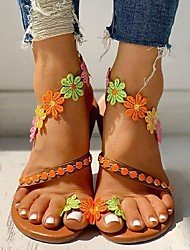 cheap -Women's Sandals Boho / Beach Flat Sandals 2020 Spring &  Fall / Spring & Summer Flat Heel Open Toe Classic Minimalism Daily Outdoor Flower PU Orange