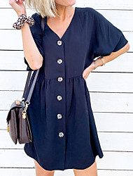 cheap -Women's A Line Dress - Short Sleeves Solid Color Patchwork Summer V Neck Street chic Going out Weekend Flare Cuff Sleeve Belt Not Included Loose 2020 Navy Blue S M L XL / Cotton