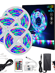 cheap -Intelligent Dimming App Control Flexible Led Strip Lights Waterproof 15M(3x5M) 2835 RGB SMD IR 24 Key Controller with Installation Package 12V 3A Adapter Kit
