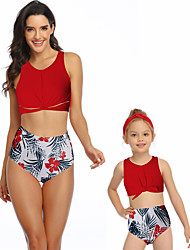 cheap -2 Piece Mommy and Me Active Sweet Tropical Leaf Floral Geometric Color Block Backless Cut Out Print Sleeveless Short Above Knee Swimwear Black
