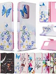 cheap -Case for Samsung Scene Picture Samsung Galaxy S20 S20 Plus S20 Ultra A51 A71 Cartoon butterfly flower pattern PU leather material card holder lanyard all-inclusive anti-fall mobile phone case BF