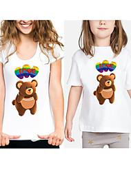 cheap -Mommy and Me Active Basic Rainbow Animal Letter Print Short Sleeve Regular Tee White