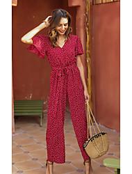 cheap -Women's Red Jumpsuit Polka Dot