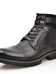 cheap -Men's Fall & Winter Daily Boots Leather Mid-Calf Boots Black