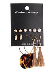 cheap -Women's Stud Earrings Drop Earrings Dangle Earrings Tassel Fringe Precious Fashion Boho Earrings Jewelry Red / Blushing Pink / Gold For Party Evening Street Gift Date 6 Pairs