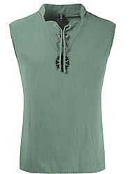 cheap -Men's Tank Top Solid Colored Sleeveless Daily Tops Basic Hawaiian White Army Green Khaki
