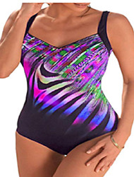 cheap -Women's Plus Size Basic Halter One-piece Swimwear Swimsuit - Rainbow Backless Print S M L Black Blue