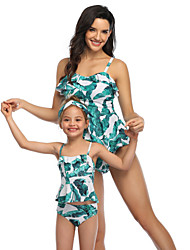 cheap -2 Piece Mommy and Me Active Sweet Floral Color Block Graphic Backless Ruffle Print Sleeveless Short Above Knee Swimwear Green