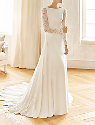 cheap -Mermaid / Trumpet Wedding Dresses Jewel Neck Sweep / Brush Train Lace Satin Long Sleeve Vintage Sexy Wedding Dress in Color See-Through Backless with Embroidery 2021