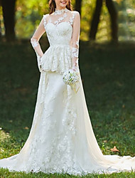 cheap -A-Line Wedding Dresses High Neck Sweep / Brush Train Chiffon Lace Tulle Long Sleeve Romantic Sexy See-Through Backless with Ruched Embroidery 2020
