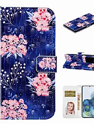 cheap -Case For Samsung Galaxy S20 / Galaxy S20 Plus / Galaxy S20 Ultra Wallet / Card Holder / with Stand Full Body Cases Pink Flower PU Leather / TPU for Galaxy A51 / A71 / A80 / A70 / A50 / A30S / A20