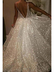 cheap -A-Line Wedding Dresses V Neck Sweep / Brush Train Tulle Sequined Sleeveless Sexy Sparkle & Shine with 2020
