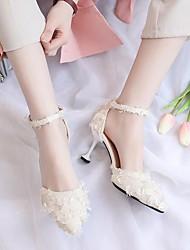 cheap -Women's Heels Summer Low Heel Closed Toe Daily PU Almond / Black