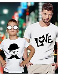 abordables -Papa et moi Actif Basique Graphique Lettre Manches Courtes Normal Tee-shirts Blanche