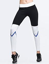 お買い得  -女性用 ハイウエスト ヨガパンツ カラーブロック ブラック グレー エラステイン ヨガ ランニング フィットネス サイクリングタイツ レギンス スポーツ アクティブウェア 高通気性 おなかコントロール バットリフト パワーフレックス 伸縮性あり