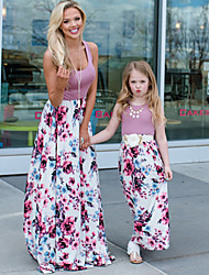 cheap -Mommy and Me Boho Sweet Floral Color Block Cut Out Print Sleeveless Knee-length Dress Blushing Pink