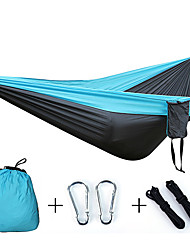 cheap -Camping Hammock Outdoor Portable Breathable Ultra Light (UL) Foldable Parachute Nylon with Carabiners and Tree Straps for 2 person Camping / Hiking Hunting Fishing Blue 17*10*8 cm Pop Up Design
