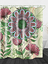 cheap -Painted Line Flowers Digital Print Waterproof Fabric Shower Curtain for Bathroom Home Decor Covered Bathtub Curtains Liner Includes with Hooks