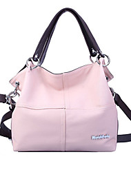 cheap -Women's Zipper PU Tote Leather Bags Solid Color Black / Blushing Pink / Khaki