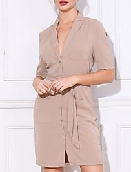 cheap -Women's Asymmetrical Neck Bandage Belt Casual Office Blazers Dresses MM0136