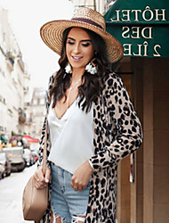 cheap -Women's Coat Daily Street chic Regular Leopard Black S / M / L