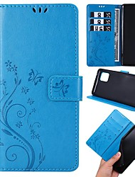 cheap -Case For Samsung Galaxy A51/A71/A50 Wallet / Card Holder / with Stand Full Body Cases Butterfly / Solid Colored PU Leather For Galaxy A11/A81/A10S/A20S/A30S/A50S/A10/A20/A20E/A30/A70