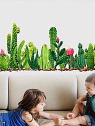 cheap -Green Cactus Plants Wall Stickers for Bedroom Living Room Dining Room Kitchen Kids Room DIY Vinyl Wall Decals Door Murals