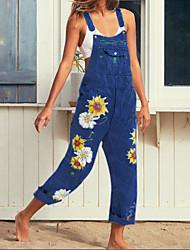 cheap -Women's Street chic Blue Gray Light Blue Jumpsuit Onesie, Floral S M L