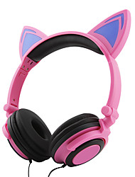 cheap -MK-08 Foldable Cat Ear Headset Child Cute Cat Ear Shape Stereo LED Music Lights Headphones