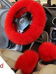 cheap -Winter Furry Car Steering Wheel  Gear Knob Shifter Parking Brake Covers Set 3Pcs