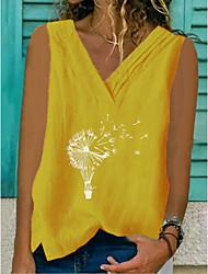 Недорогие -Жен. Геометрический принт Безрукавка V-образный вырез Повседневные Лето Желтый Военно-зеленный Серый S M L XL 2XL 3XL