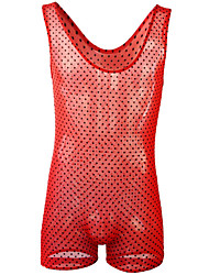 cheap -Men's Mesh Bodysuits Nightwear Polka Dot Red One-Size