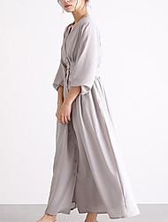 cheap -Women's A-Line Dress Maxi long Dress - Long Sleeve Solid Color Summer Work 2020 Black Light gray Brown Navy Blue One-Size
