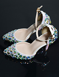 cheap -Women's Wedding Shoes Stiletto Heel Pointed Toe Sexy Classic Minimalism Wedding Party & Evening PU Rhinestone Crystal Sparkling Glitter Solid Colored Floral Gold Silver Rainbow