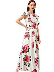 Недорогие -Жен. Классический Блуза Юбки - С принтом, Цветочный принт