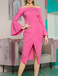 cheap -Women's A Line Dress - 3/4 Length Sleeve Solid Color Zipper Spring Summer Formal Elegant Daily Going out Flare Cuff Sleeve 2020 Fuchsia S M L