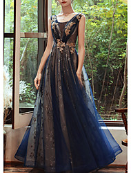 cheap -A-Line Glittering Blue Wedding Guest Formal Evening Dress Scoop Neck Sleeveless Floor Length Organza with Sequin 2020