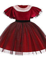 cheap -Kids Girls' Cute Solid Colored Bow Pleated Mesh Short Sleeve Knee-length Dress Red