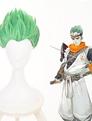 cheap -Cosplay Wig Shimada Genji Overwatch Straight With Bangs Wig Short Green Synthetic Hair 12 inch Men's Anime Cosplay Cool Green