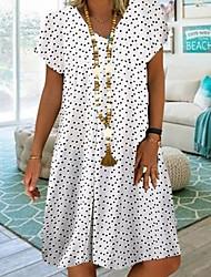 cheap -Women's A Line Dress Knee Length Dress White Red Navy Blue Short Sleeve Polka Dot Summer V Neck Boho 2021 S M L XL XXL 3XL 4XL 5XL