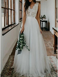 cheap -A-Line Wedding Dresses V Neck Sweep / Brush Train Lace Tulle Sleeveless Beach Boho Sexy with Embroidery 2021