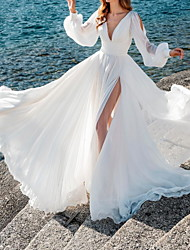 cheap -A-Line Wedding Dresses V Neck Sweep / Brush Train Chiffon Over Satin Long Sleeve Simple Beach Sexy See-Through with Split Front 2021